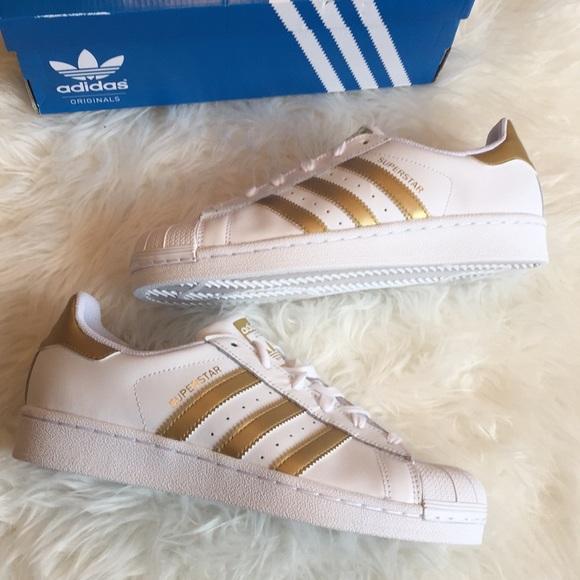 Adidas Superstar big kids gold stripe sneaker